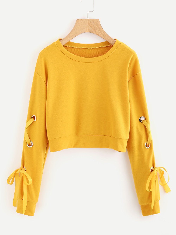 Eyelet Lace Up Sleeve Crop Sweatshirt - $14.99
