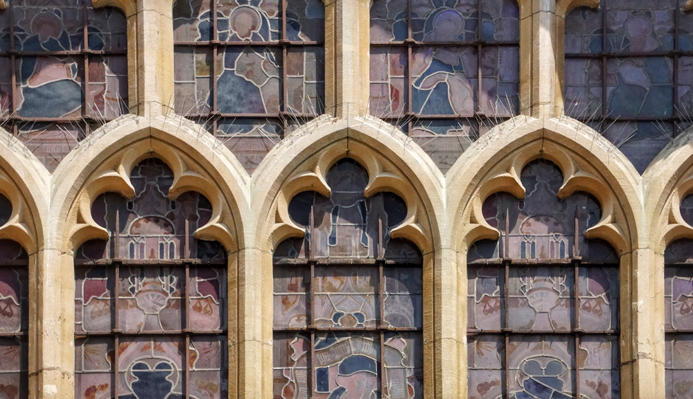 Close up on Bath Abbey's stain-glass windows.