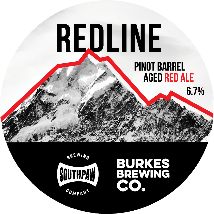 Made in collaboration with Burkes Brewing, Redline is a full and malty red ale that focusses on chewy, sweet malts.  We then aged it in Pinot Noir barrels to give a red wine complexity resulting in a nice bitterness from tannins, and cherry, raisny aromas.  A full-bodied beer that blends the sweetness of malts with the dryness of wine.