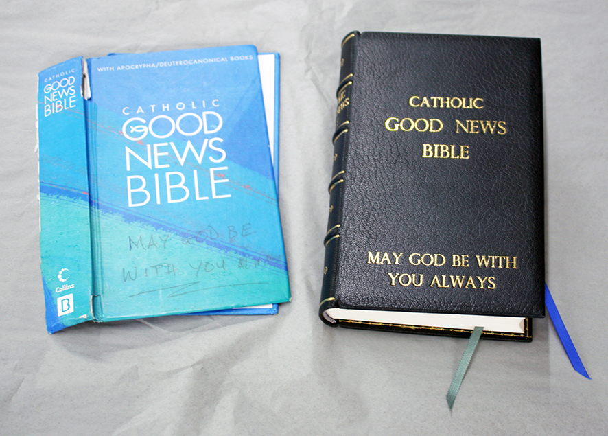 Leather bible repair