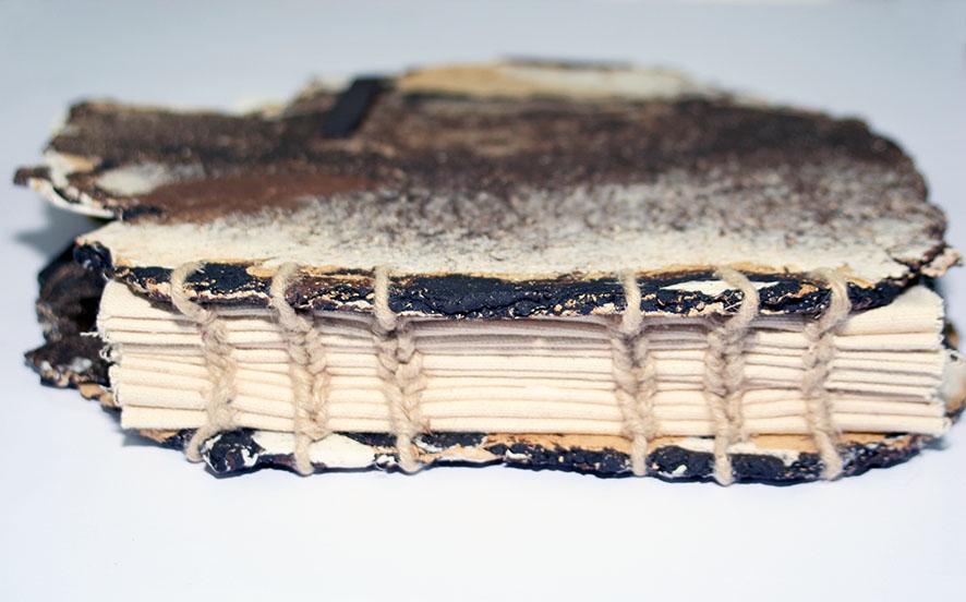 Artist hand sewn book