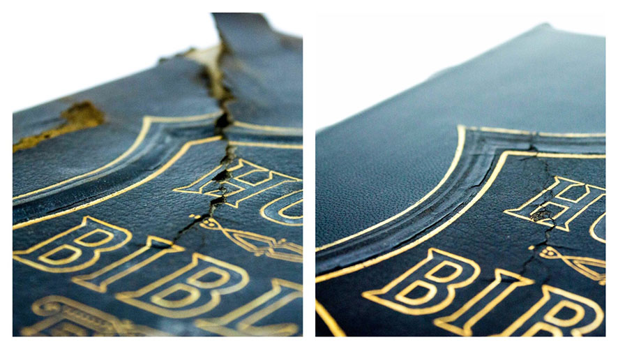 Bible repair before and after