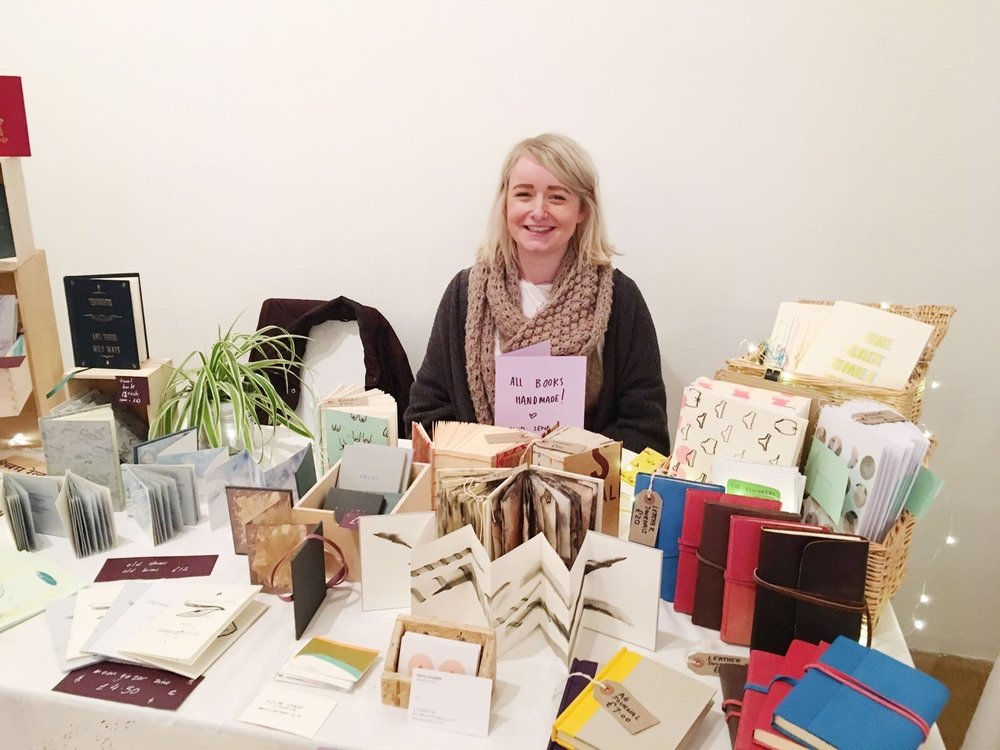 Kerry looking after her and Gillian's stand at the Artists' Bookmarket