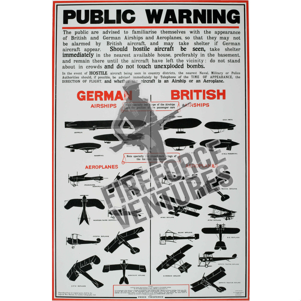 WWI Aircraft Recognition Information Poster