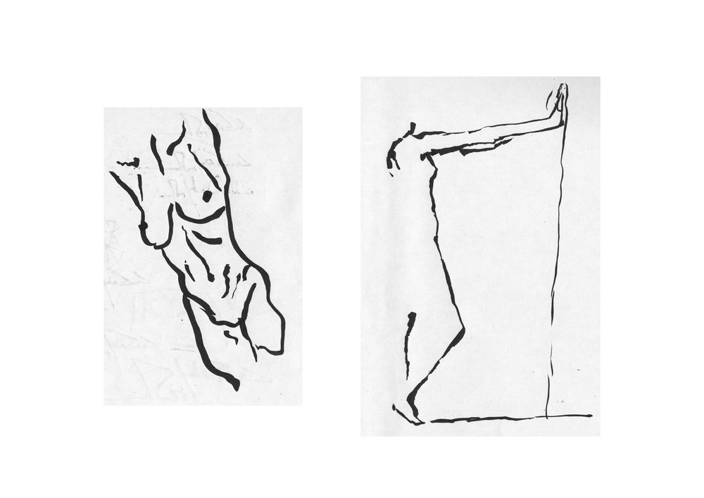 Figure studies from the figure drawing session offered every Wednesday from 17.00-19.00 at ZHdK.