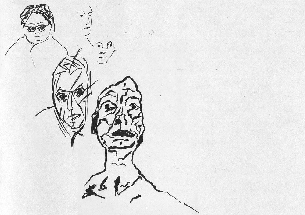 Portrait studies from the figure drawing session offered every Wednesday from 17.00-19.00 at ZHdK.
