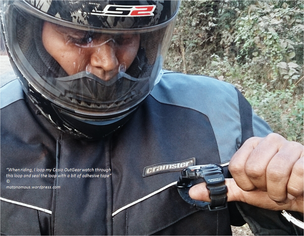 When riding, I loop my Casio OutGear watch through this loop and seal the loop with a bit of adhesive tape