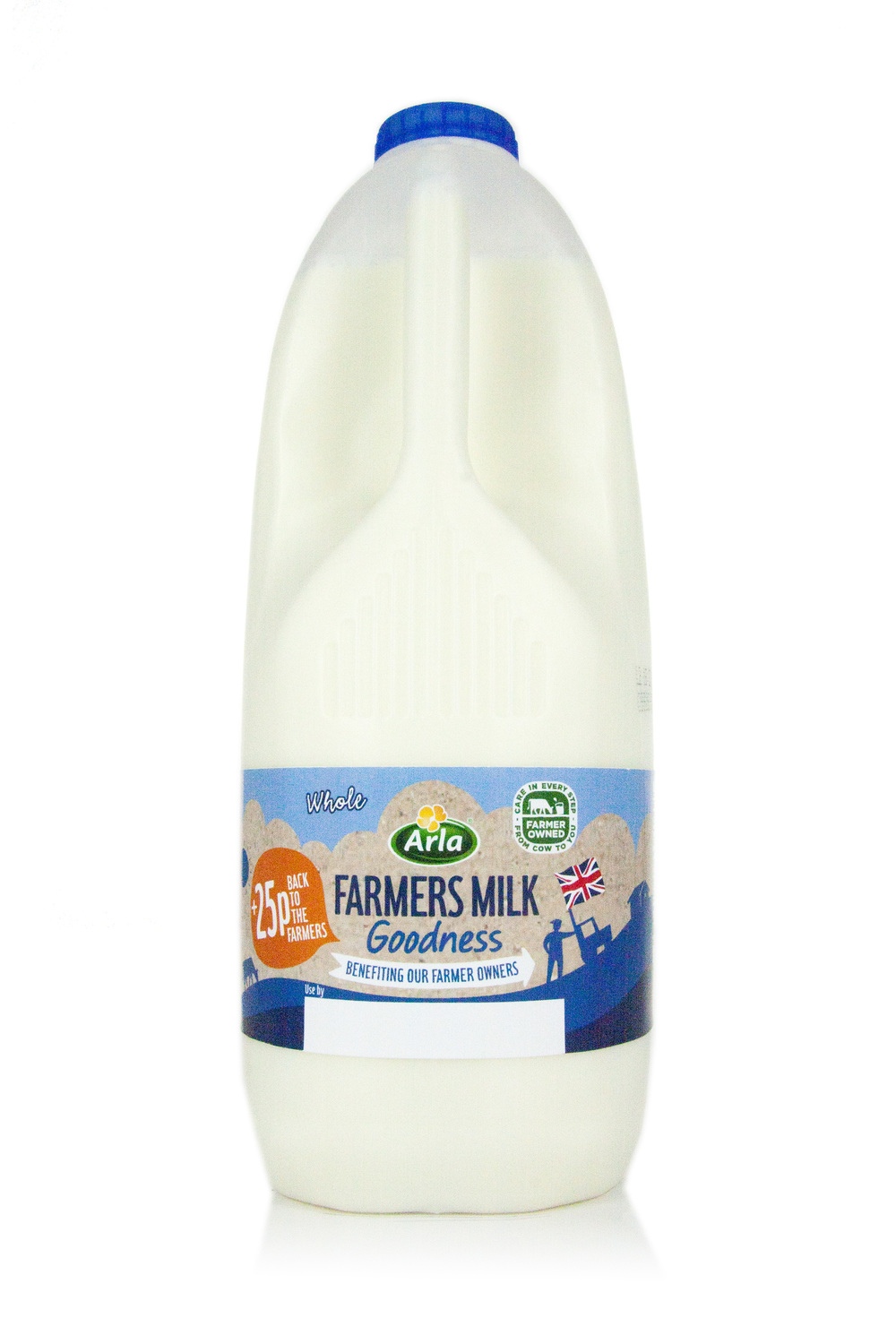 Pillbox Design – Bespoke die cut label packaging prototype of Arla Farmers Milk 4pt
