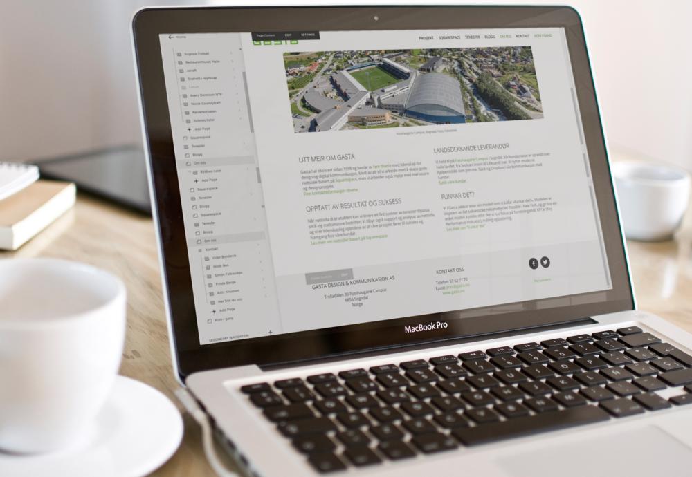 Squarespace: Inline editering - du ser heile tida nettsida du skal endre. Dra og flytt på alle element!