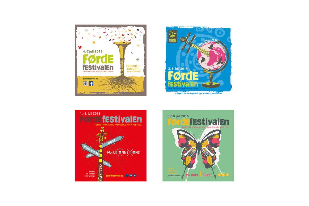 Brosjyremateriell - Vi utviklar kvart år brosjyremateriell for festivalen. I dei seinare åre har vi hatt nært samarbeid med kunstnaren Piotr Pocylo som utviklar illustrasjonar for årets tema.