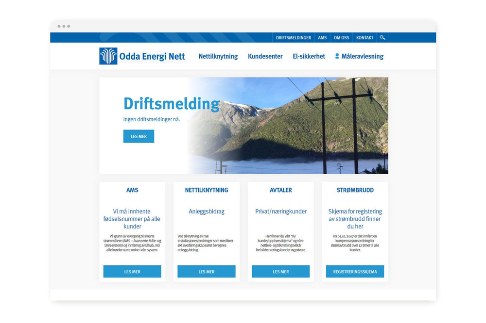 Nettside basert på Squarespace - Vi har utvikla nettsider for Odda Energi. Som alle andre integrerte kraft-leverandørar må dei følgje NVE-krav og dele nettsidene i tre: konsern, kraft og nett.