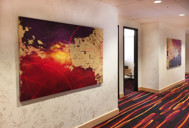 Dixon Schwabl Advertising Victor, NY 'Convergence' 1&2 48x72 each Acrylic on Canvas w/ gold leaf