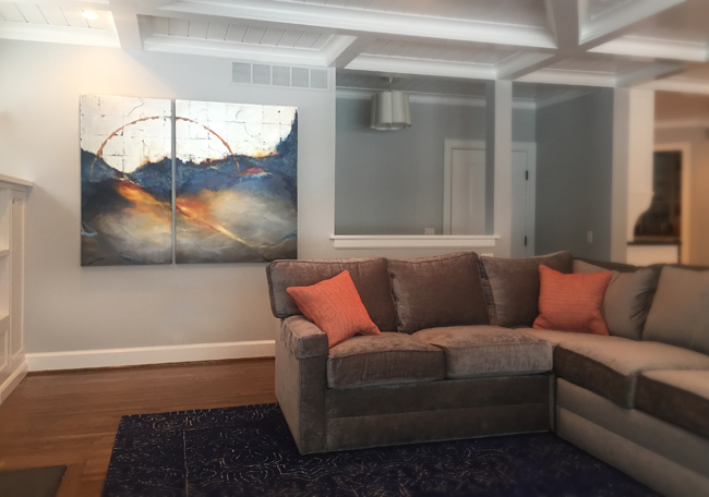 Private home, Pittsford, NY 'Gems In The Surf' 1&2 48x24 & 48x36 Acrylic on canvas w/silver leaf