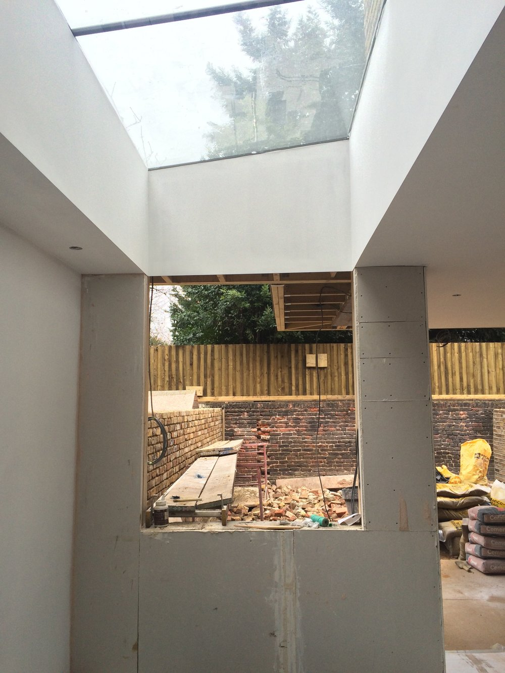 Contruction of extension and roof light