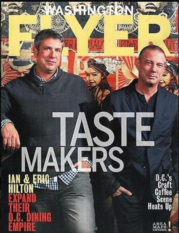 the hilton brothers on the front cover of washington flyer magazine