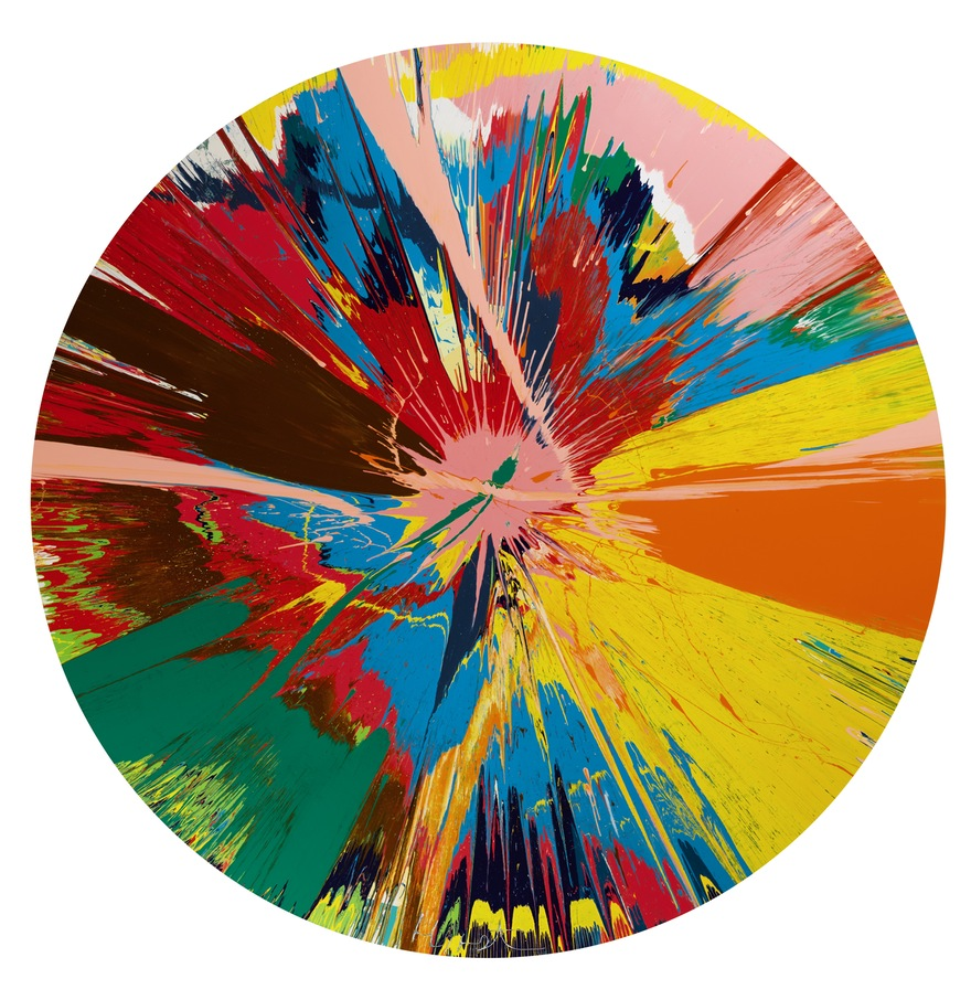Damien Hirst, Beautiful, Shattering, Slashing, Violent, Pinky, Hacking, Sphincter Painting, 1995 Photo: Sotheby's, © the artist