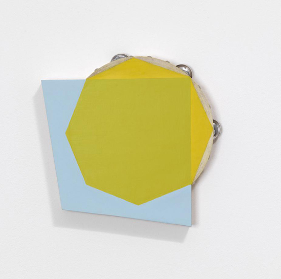 Paul Lee, Untitled (tambourine), 2011, tambourine, paint, balsa wood, 31 x 28 x 5 cm, 12 1/4 x 11 1/8 x 2 ins