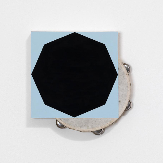 Paul Lee, Untitled (tambourine), 2011 tambourine, paint, balsa wood, 29.5 x 29.5 x 5 cm / 11 5/8 x 11 5/8 x 2 ins,