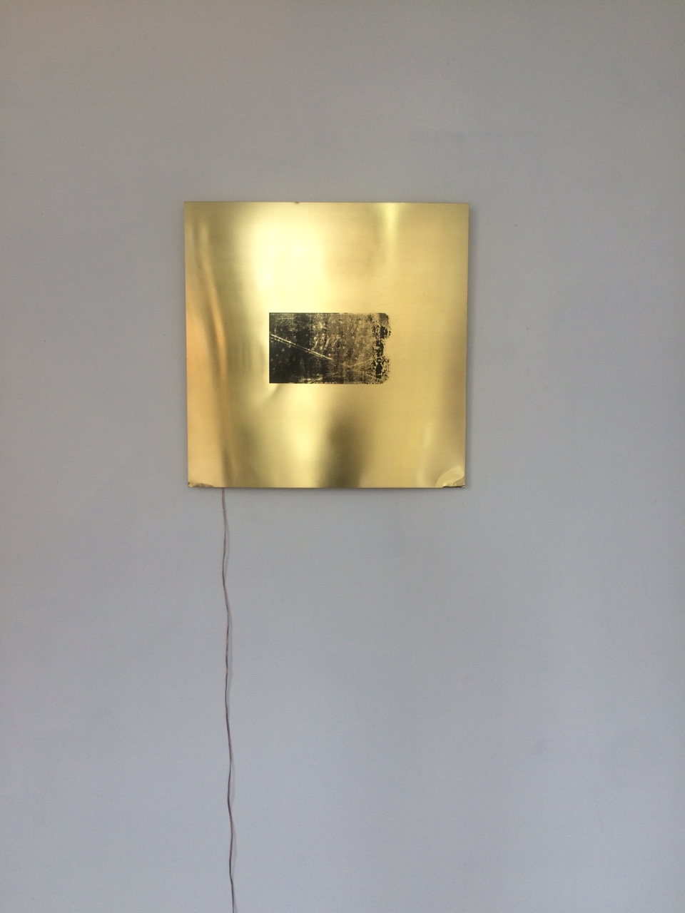 Alejandro T. Acierto, Taft's own, 2016 Screenprint on brass, surface mount transducer Part of Focusing (Vol. II), a solo show at Corner in Chicago. On view until November 15, 2016!