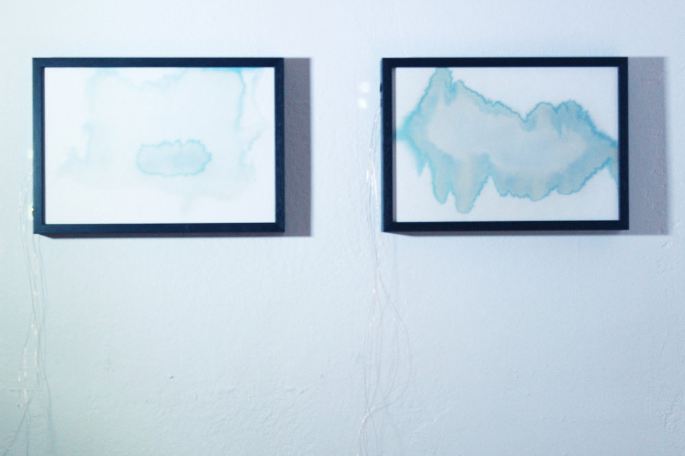 Juliana Herrero, Sonoides 6+2, 2016 (27,3 x 18,8 cm x 4 cm) each. mixed media sounding sculpture: microsound and watercolor blue print technique as synesthesia, copper wire, piezo's, electronic heart, sound on playback. View of diptych sounding paintings installed.