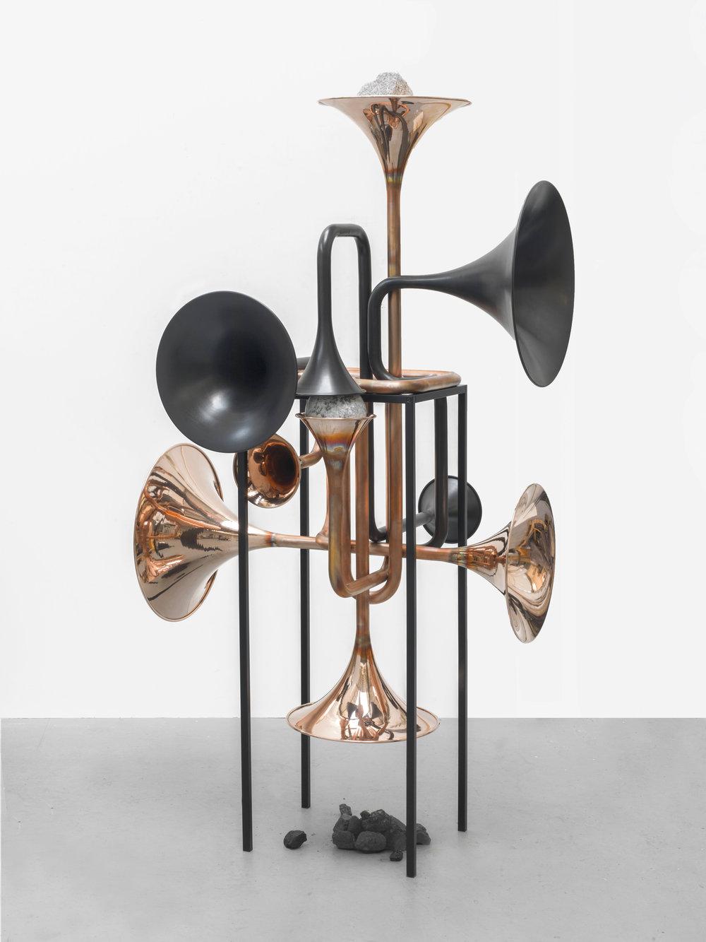 Alicja Kwade, Hypothetisches Gebilde König Galerie  copper, powder coated steel 196.5 × 130.0 × 121.0 Size (cm)
