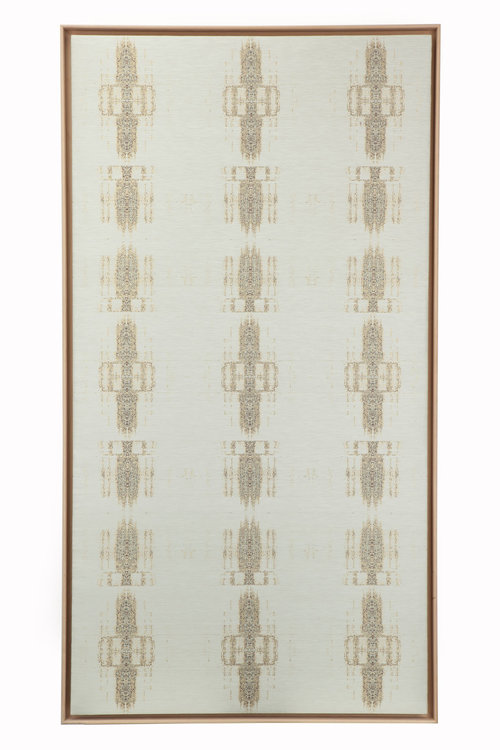 Arabic Islamic Adhan, The Call To Prayer Woven Silk, linen and gold coated pure silver metallised yarn, beech wood frame. 110 cm x 200 cm.