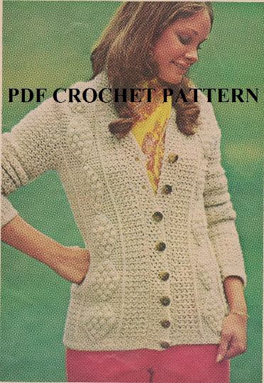 Crochet Ladies Aran Cardigan Pattern Kc1335 Advanced Skill Level