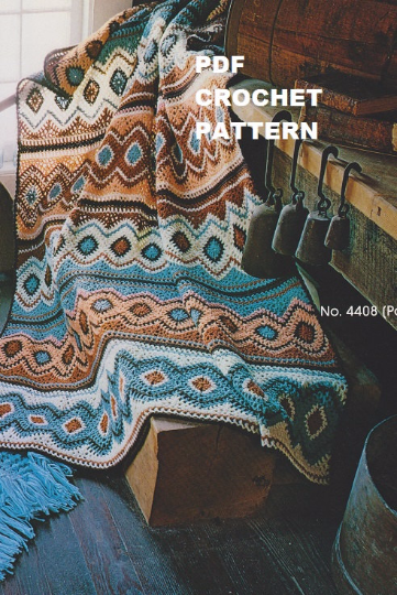 Crochet Navajo Afghan Pattern Kc0014 Intermediate Skill Level