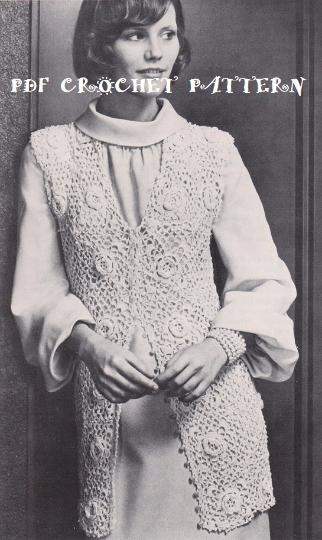 Crochet Ladies Irish Crochet Vest Pattern Kc0076 Advanced Skill