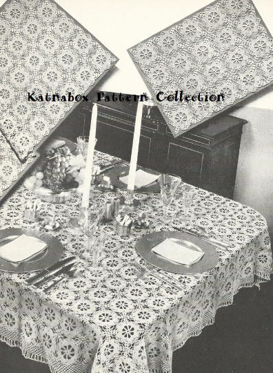 Crochet Fancy Free Tablecloth Pattern Kc0118 Intermediate Skill