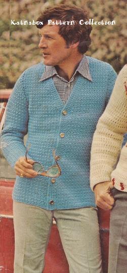 Crochet Mens Riviera Cardigan Pattern Kc0154 Advanced Skill Level