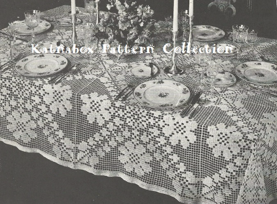 Crochet Trellis Of Flowers Tablecloth Pattern Kc0206 Advanced