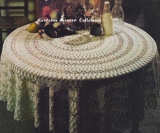 Crochet Round Tablecloth 72 Diameter Pattern Kc0416 Advanced