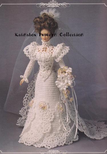 Crochet Fashion Doll Bed Doll Wedding Gown 1995 Pattern Kc0603