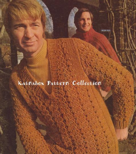 Knit Mens V Neck Pullover Sweater Pattern Kc0605 Advanced Skill