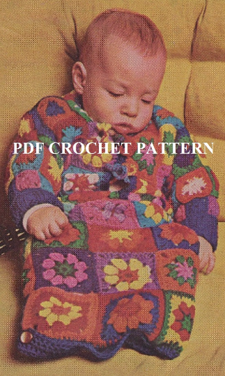 Crochet Granny Square Baby Bunting Outfit Pattern Kc0712