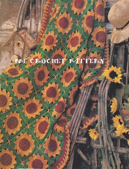 Crochet Sunflower Motif Afghan Pattern Kc0708 Intermediate Skill
