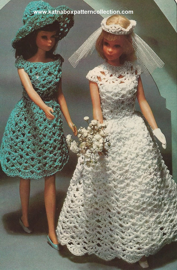Crochet 11 1 2 Fashion Doll Classic Wedding Gown Bridesmaid Dress Pattern Kc1567 Intermediate Skill Level Crochet Pdf Pattern