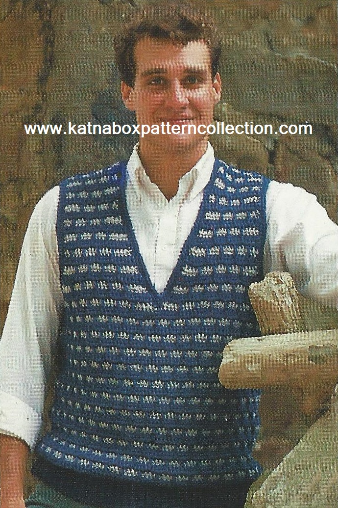 Crochet Mens Windowpane Vest Pattern Kc1576 Advanced Skill Level