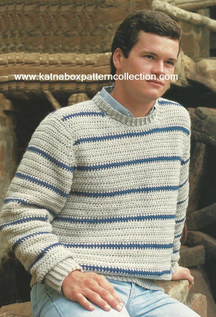 c3f25883cc5d97 Crochet Mens Striped Pullover Pattern  KC1577