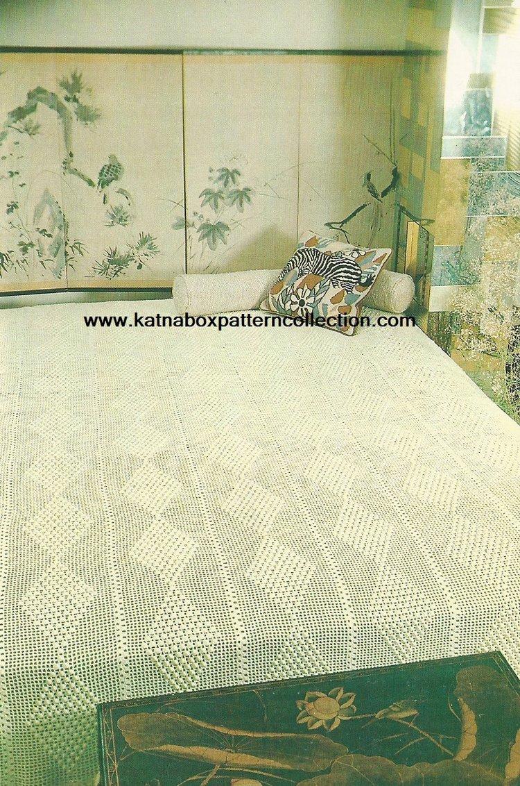 Crochet Diamond Filet Bedspread Pattern Kc1647 Advanced Skill