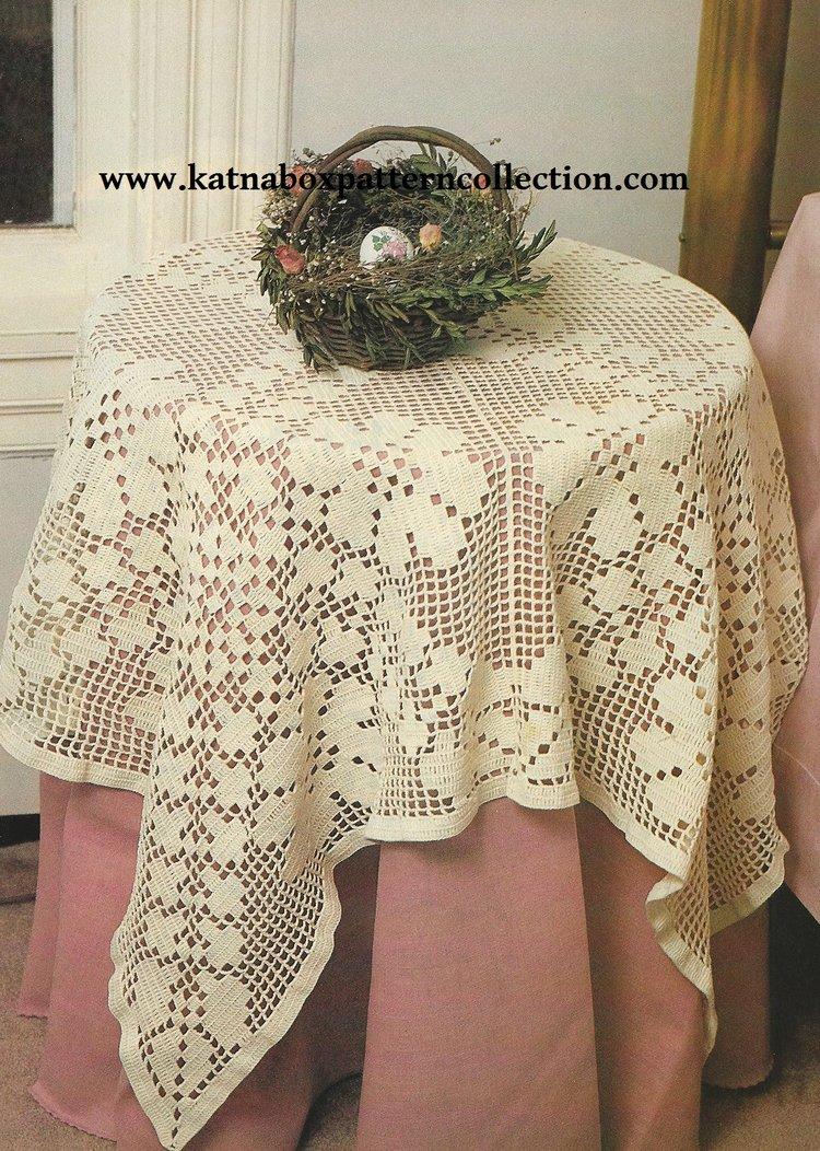 Crochet Rose Filet Tablecloth 52square Pattern Kc1668