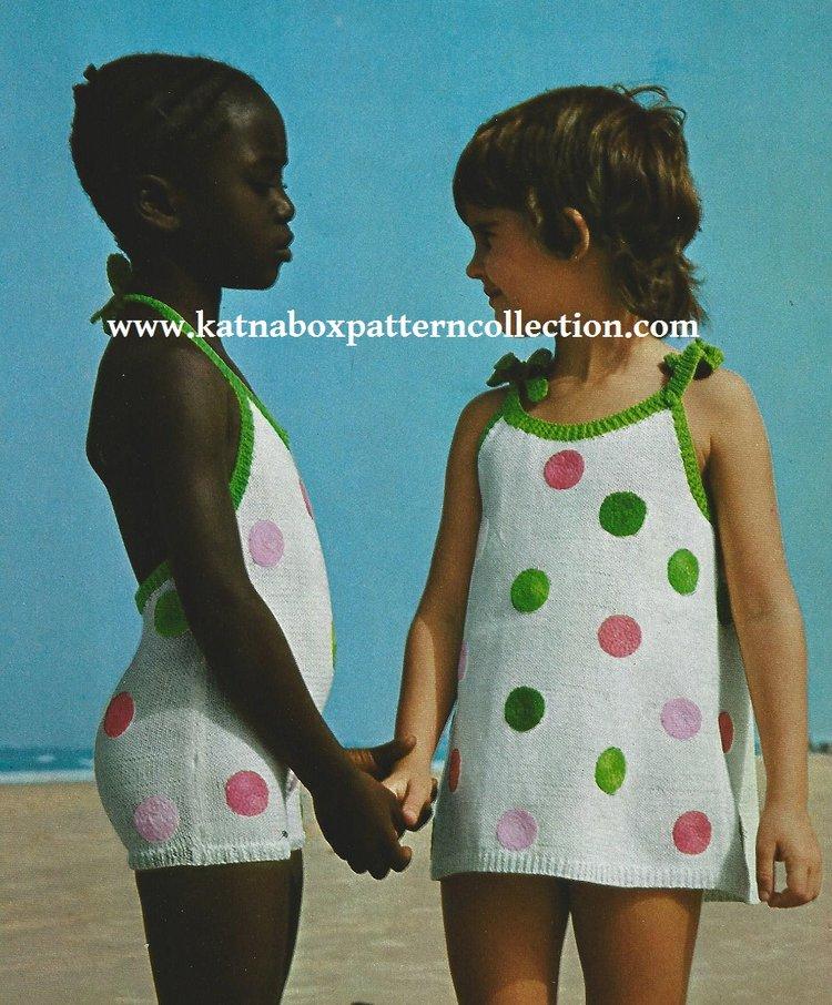 Knit Childs Matching Swim Suit Beach Dress Pattern Set Kc1716