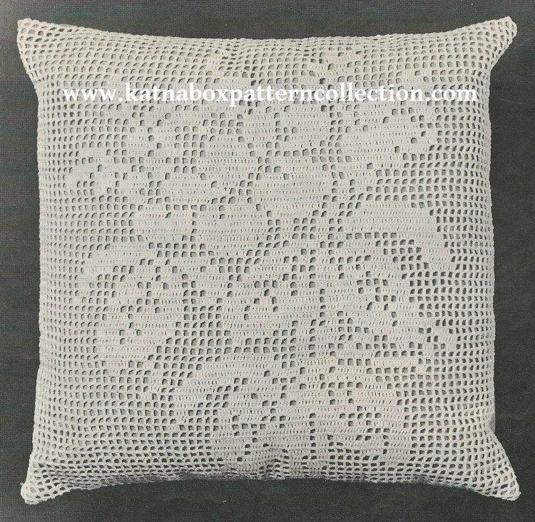 Crochet Filet Rose Pillow Pattern Kc1730 Beginner Skill Level