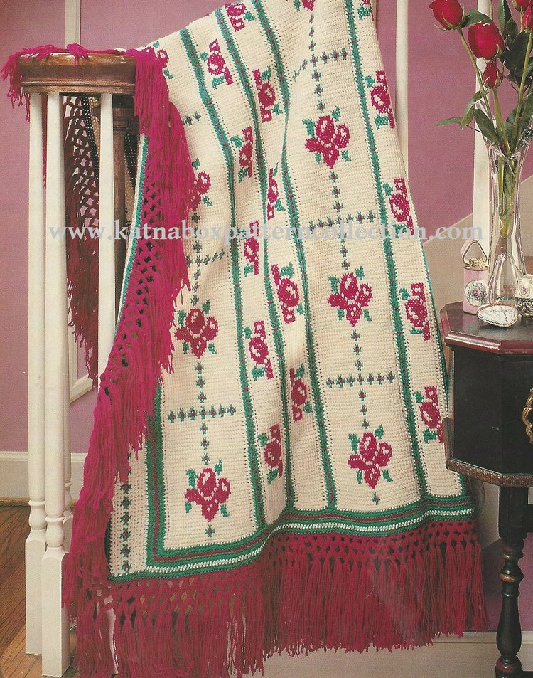 Crochet Victorian Rose Afghan Pattern Kc1755 Advanced Skill
