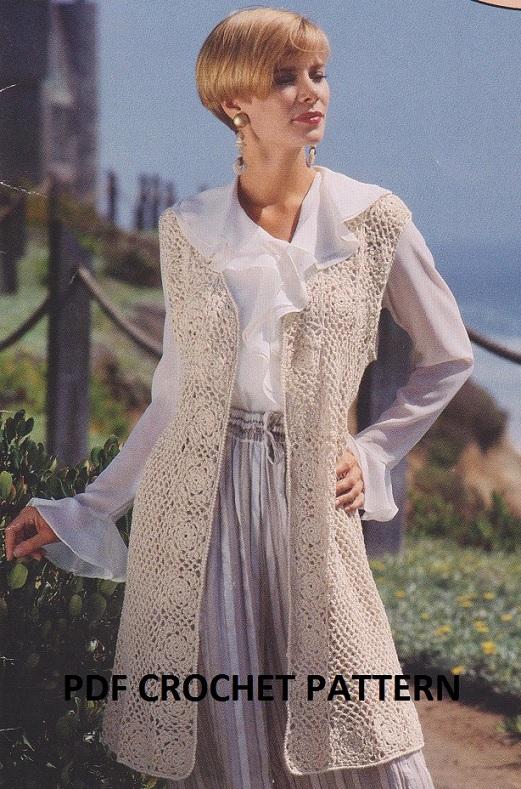Crochet Ladies Cafe Au Lait Sleeveless Cardigan Pattern Kc1759