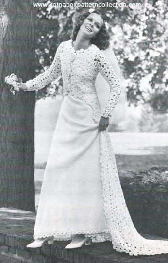 Crochet Wedding Gown Ensemble Pattern Kc1618 Advanced Skill Level