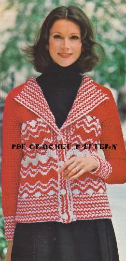 Crochet Ladies Candy Striped Cardigan Pattern Kc1183 Advanced