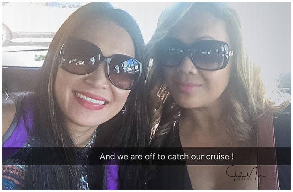 Selfie of Tina and I in a taxi, on our way to board the cruise ship.