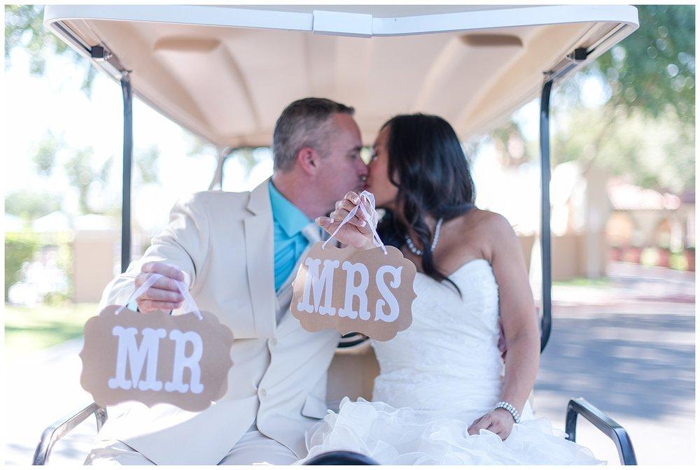 Mr. & Mrs. Just Married, Golf Cart, Kiss
